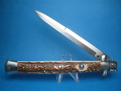 "Frank Beltrame 13"" Stag Horn Bayonet Switchblade"