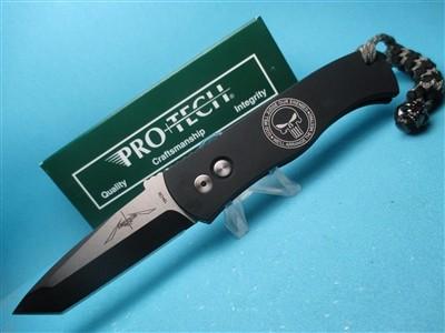 Emerson/Pro-Tech CQC-7 PUNISHER   Push Button Automatic  Black Aluminum Handle w/Logo  Black 154-CM Blade  Skull Lanyard