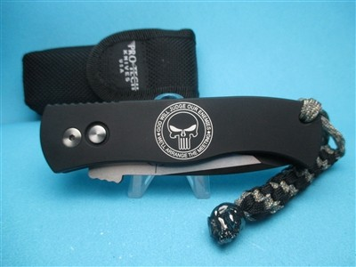 Emerson/Pro-Tech CQC-7 PUNISHER   Push Button Automatic  Black Aluminum Handle w/Logo  Black 154-CM Blade  Skull Lanyard