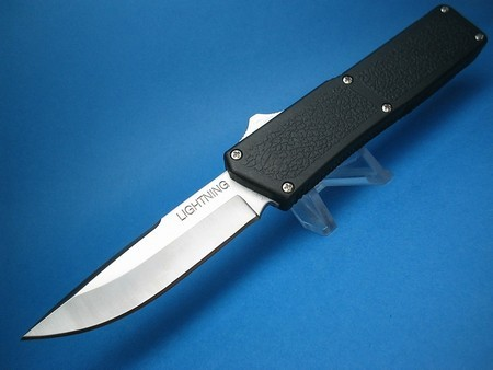 "8"" Lightning OTF Automatic with Black Handle & Silver Button & (Highest Quality) SALE !"