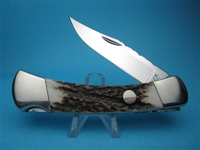 Custom Buck Sambar Stag 110 Fileworked Automatic Conversion Knife.
