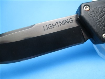 "8"" Lightning OTF Automatic with Black Handle & S/E Plain Black Blade"