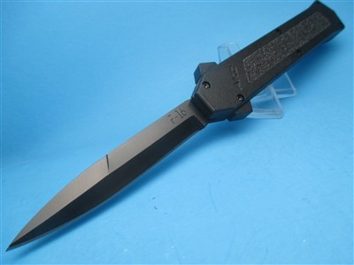 AKC F-16 OTF BLACK HANDLE TACTICAL BLADE