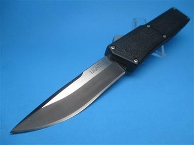 "8"" Lightning OTF Automatic with Black Handle & S/E Plain Black Blade"