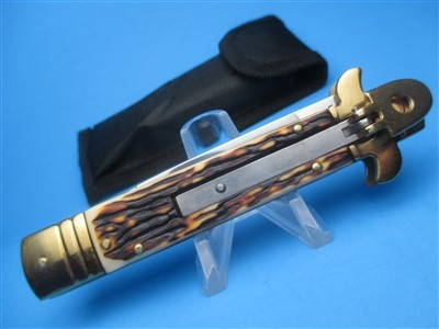 IMIT STAG & GOLD LEVERLOCK 7.75 SWITCHBLADE KNIFE