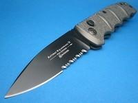 Boker Kalashnikov Grey Handle & Black Serrated Blade KALS74B Switchblade
