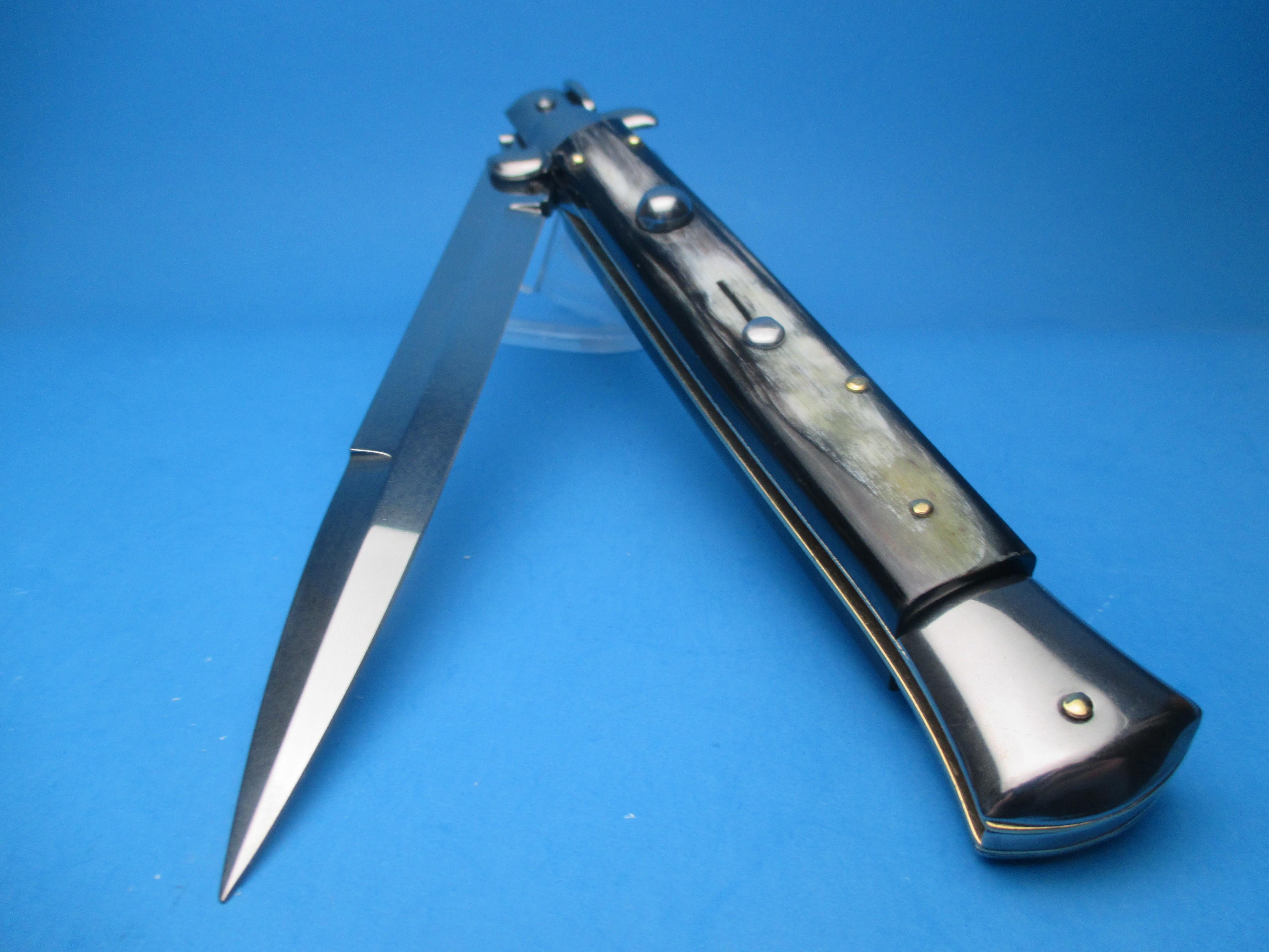 """Frank Beltrame 11"""" Brazilian Horn Switchblade with Bayonet Blade"""