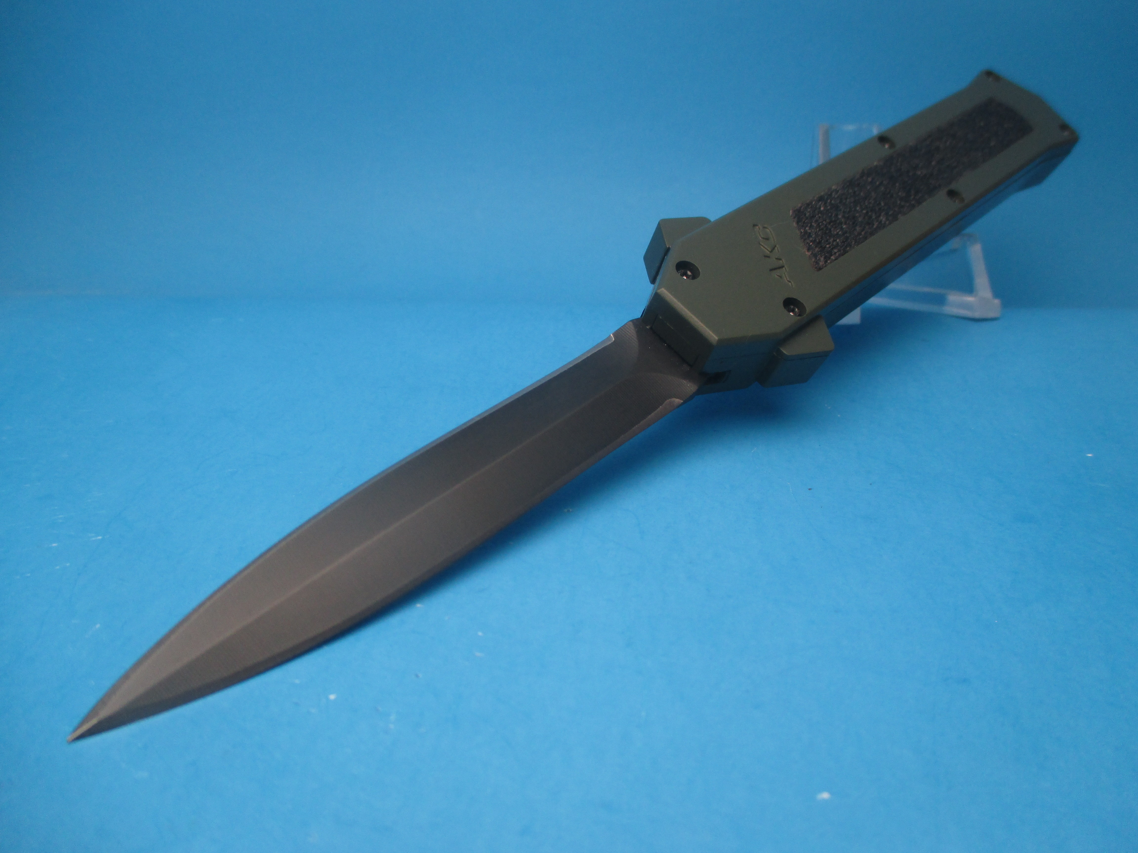 AKC F-16 OTF MILITARY HANDLE W/ TACTICAL DAGGER BLADE