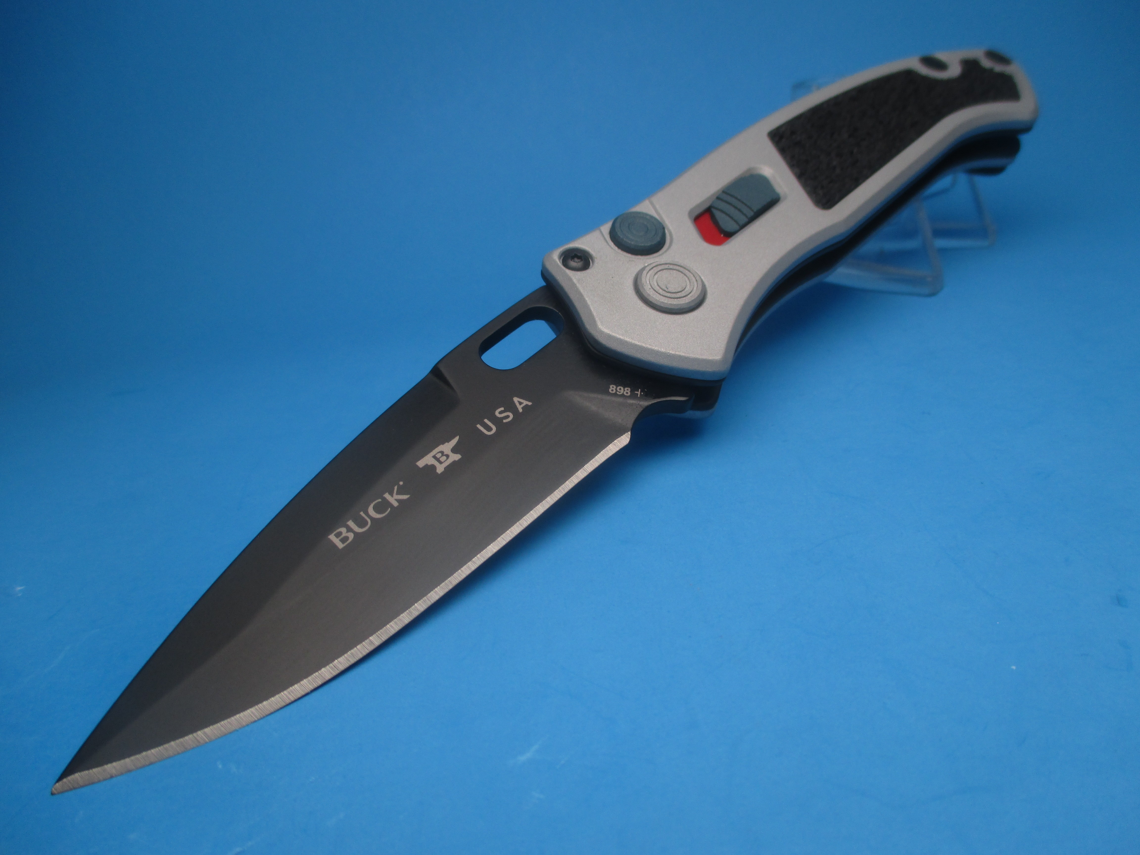 Buck 898 Impact Crushed Silver Switchblade Knife