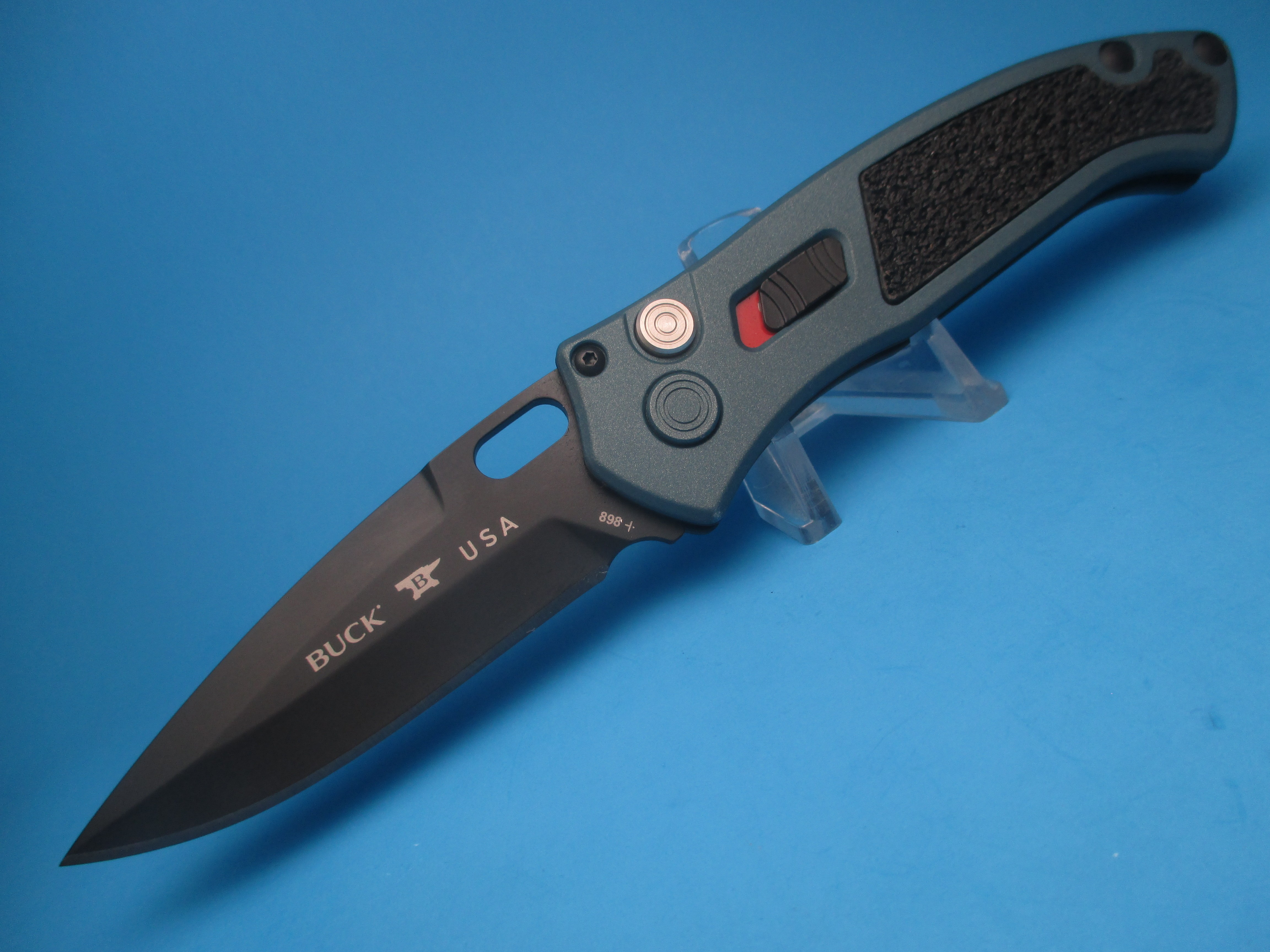Buck 898 Impact Blue Titanium Switchblade Knife