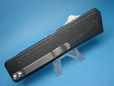 """8"""" Lightning OTF Automatic Serrated with Black Handle & Silver Button  (Highest Quality)"""