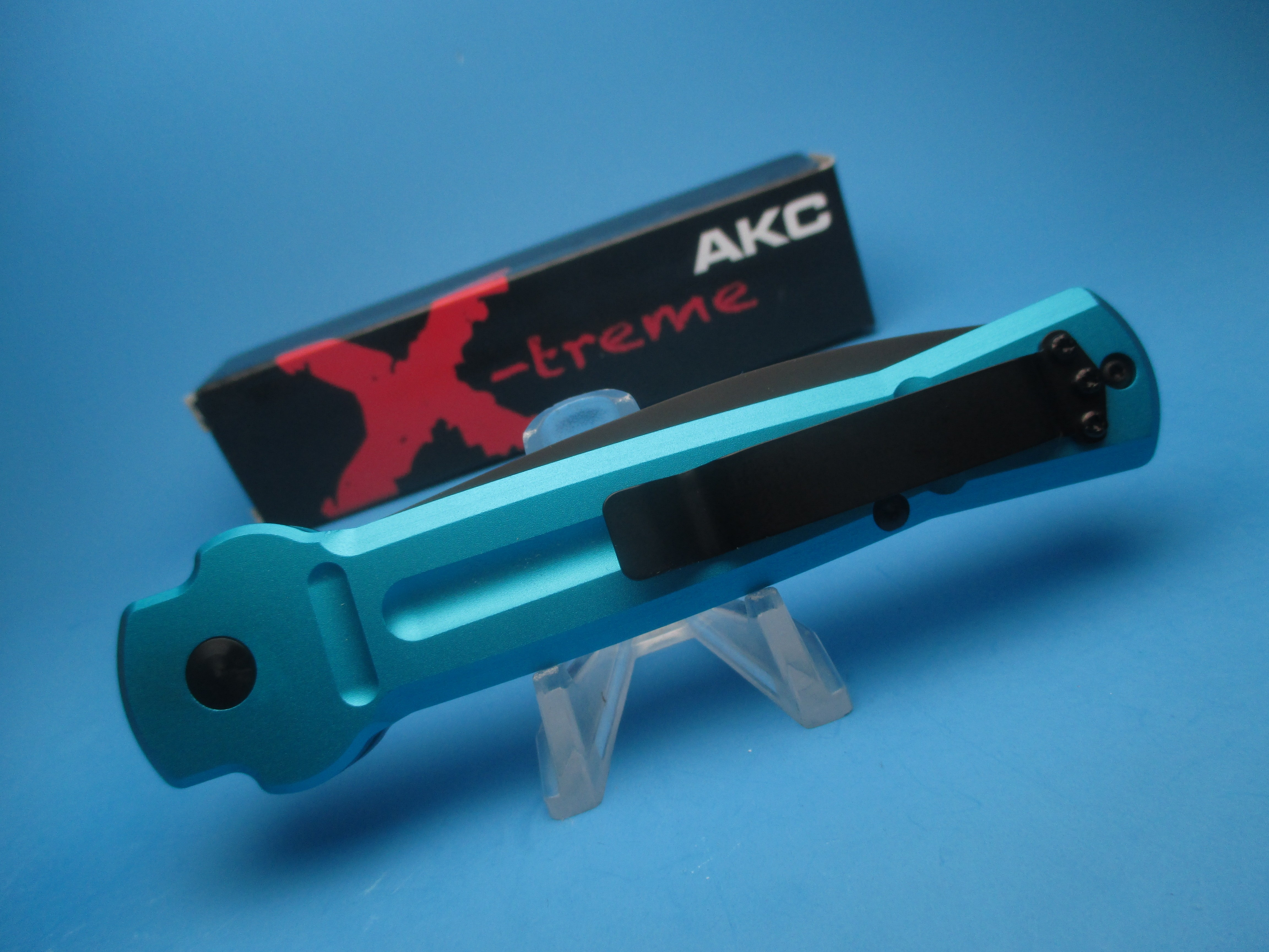 AKC ACE OTF With Blue Handle and Tactical Blade